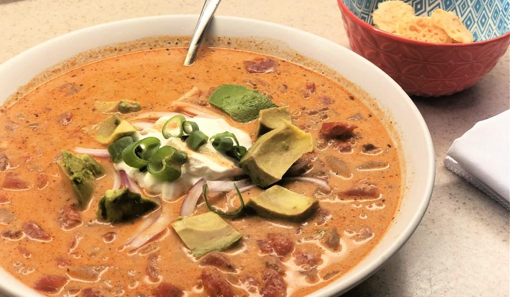 bowl of keto taco soup