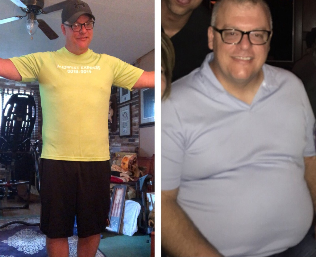 Before and after of man's keto weight loss