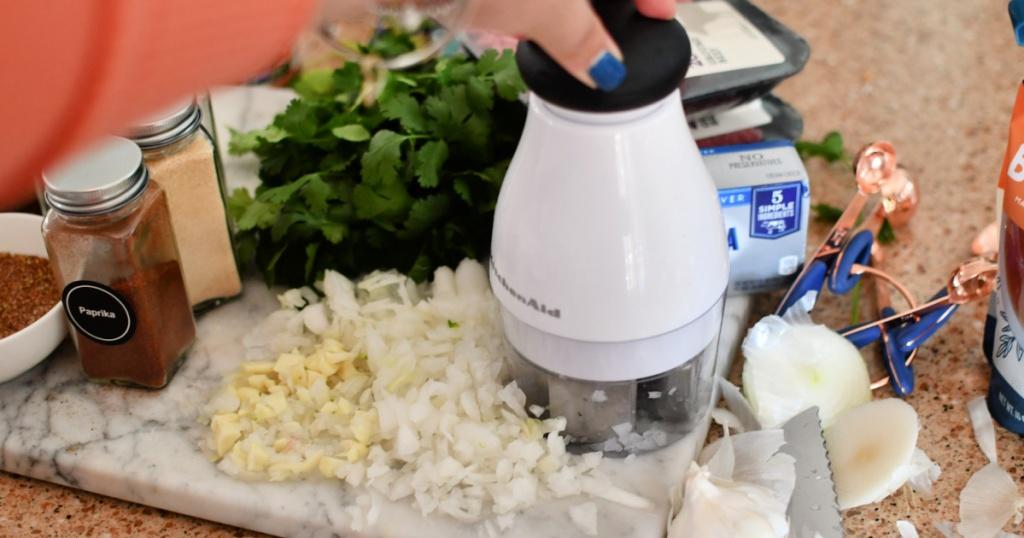 using a kitchenaid veggie chopper