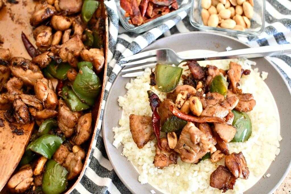 plated keto kung pao chicken with cauliflower rice