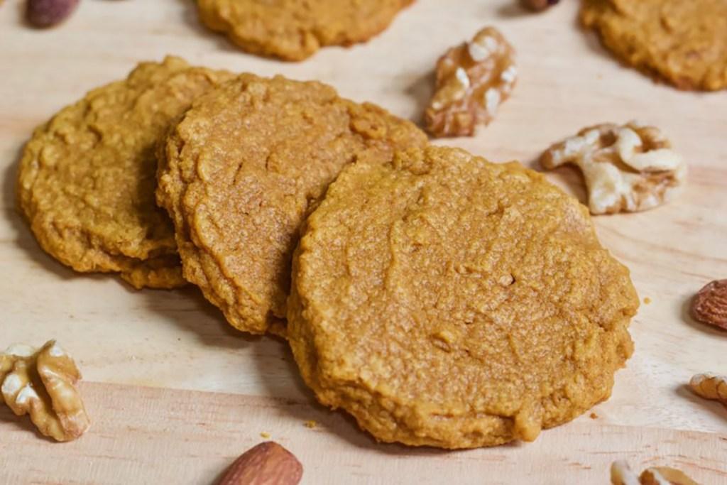 3 Ingredient pumpkin vegan keto cookies from Healthy Helper Blog