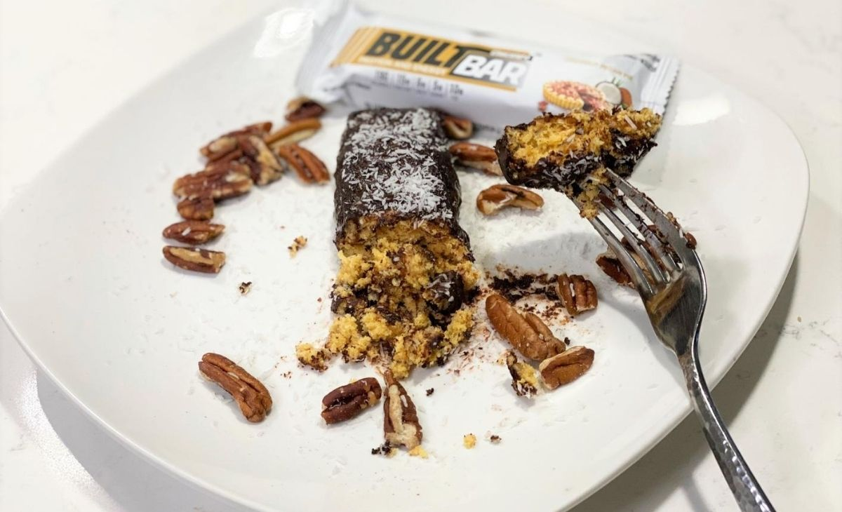 A protein bar cake on a plate
