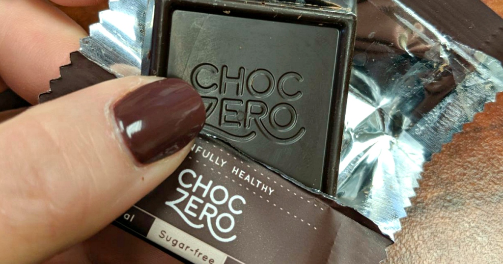 holding ChocZero candy square