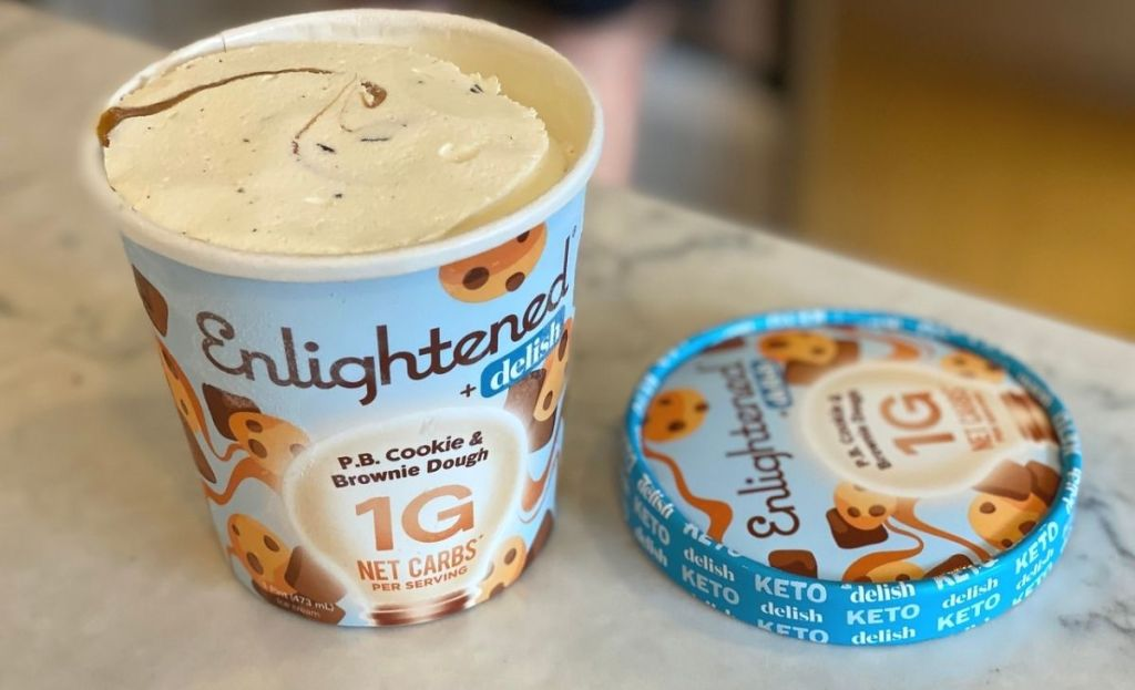 A pint of low-carb ice cream with the lid off