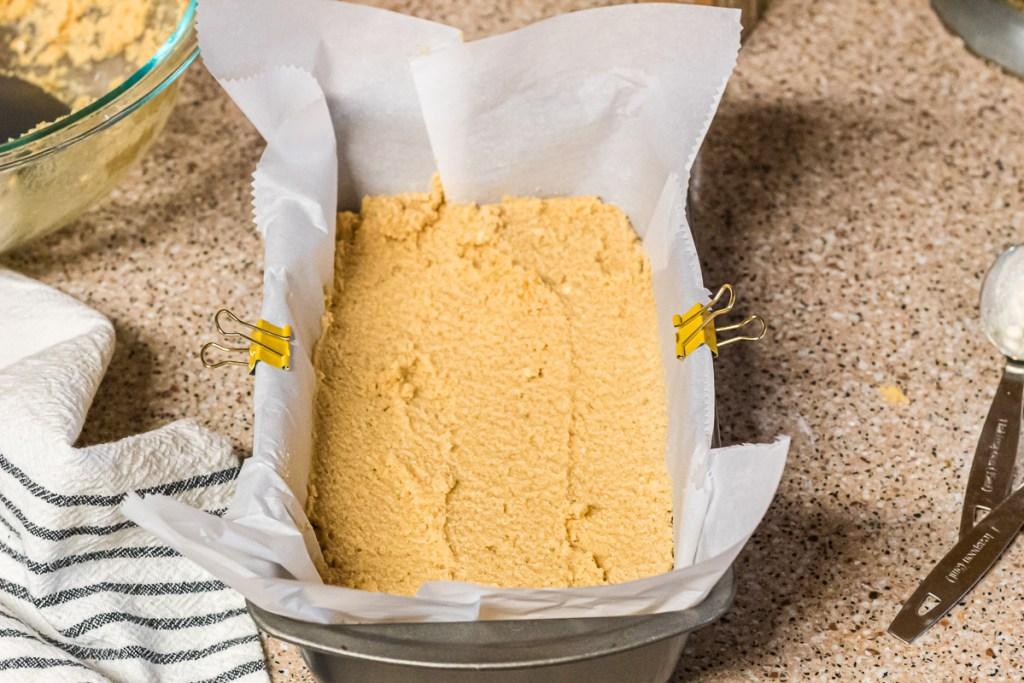 bread batter in loaf pan