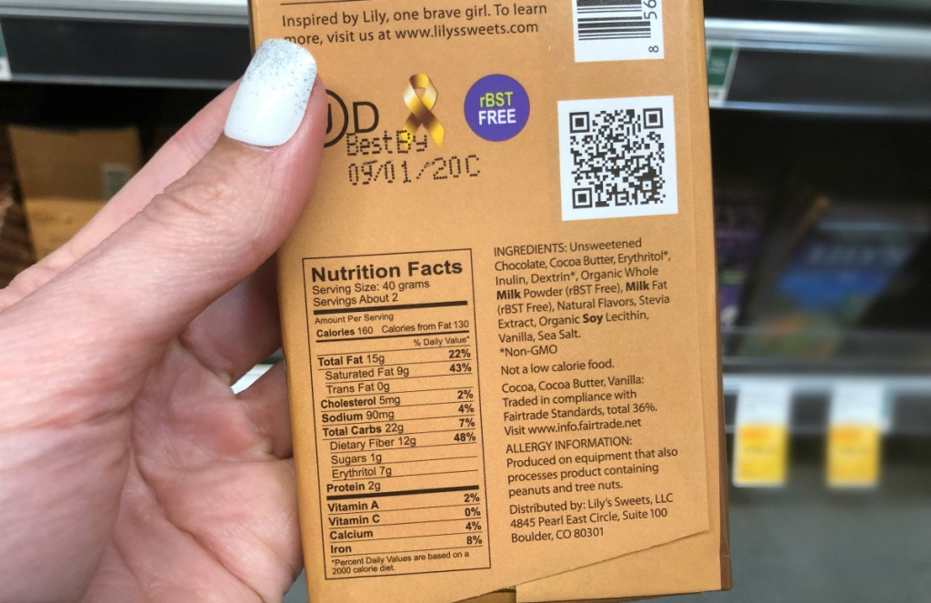 Lily's chocolate bar nutrition
