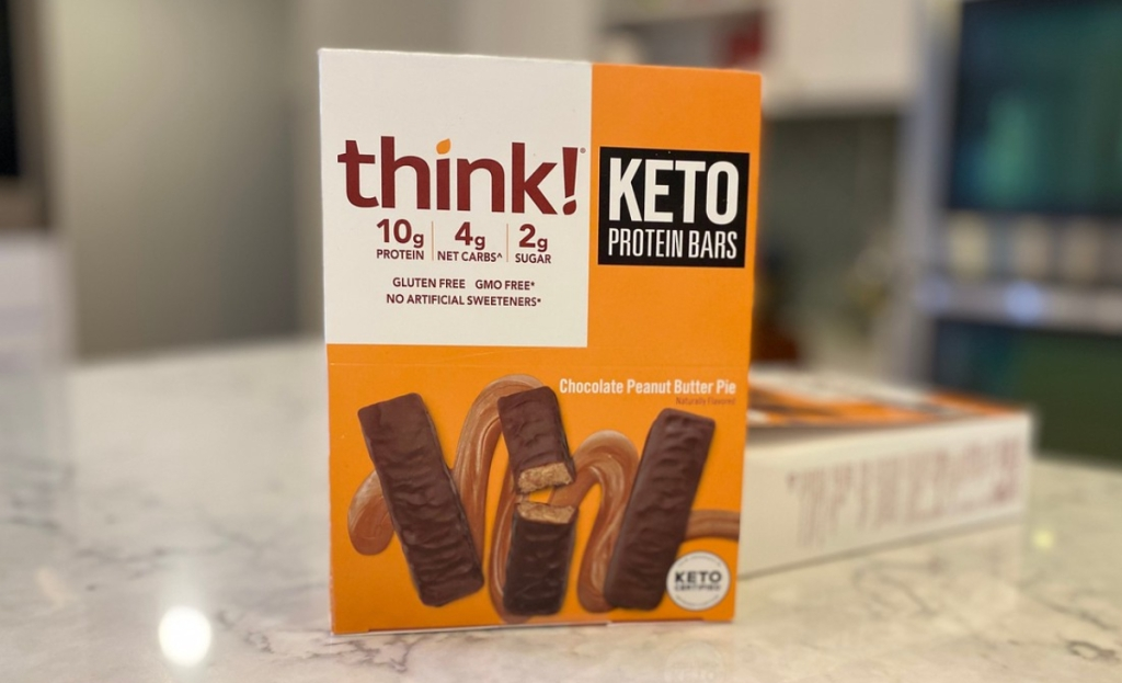 A box of protein bars on a kitchen counter
