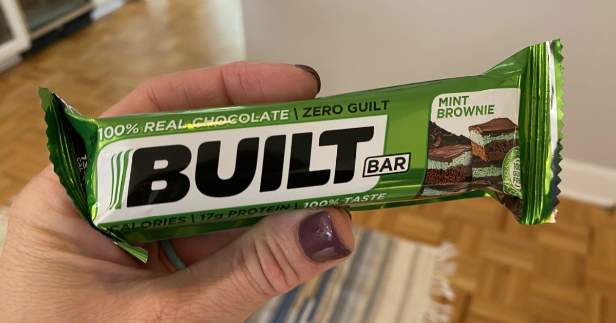 holding mint brownie Built protein bar