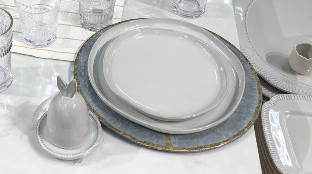 dinner plates sitting on table