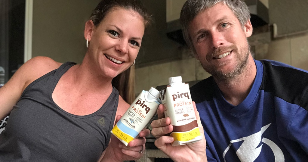 Erica and her husband with Pirq Protein keto shakes