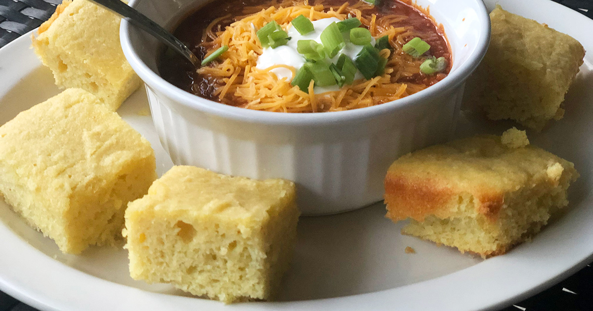 Keto cornbread and chili