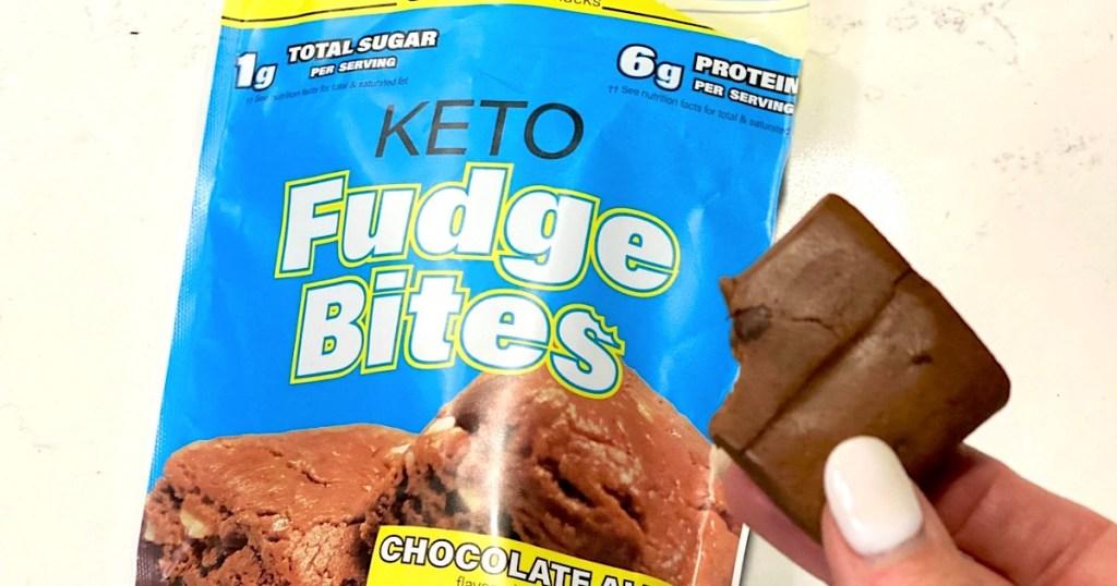 Hand Holding Keto Fudge Bites