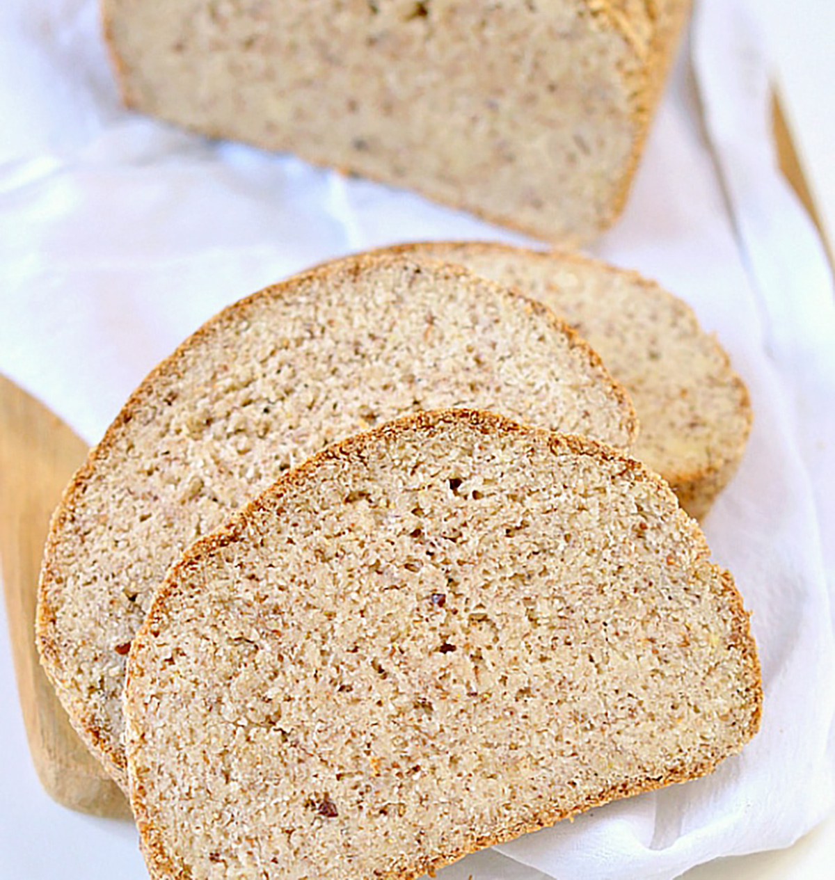 Keto vegan bread loaf and slices from