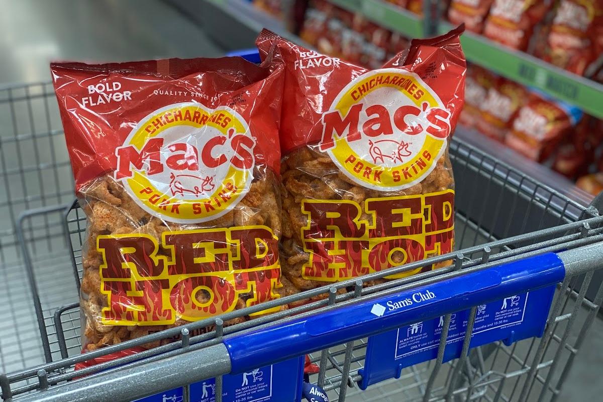 Red hot pork rinds in cart