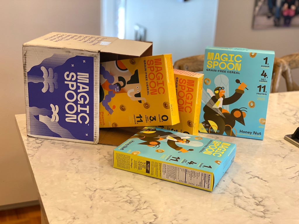 Magic Spoon cereal boxes