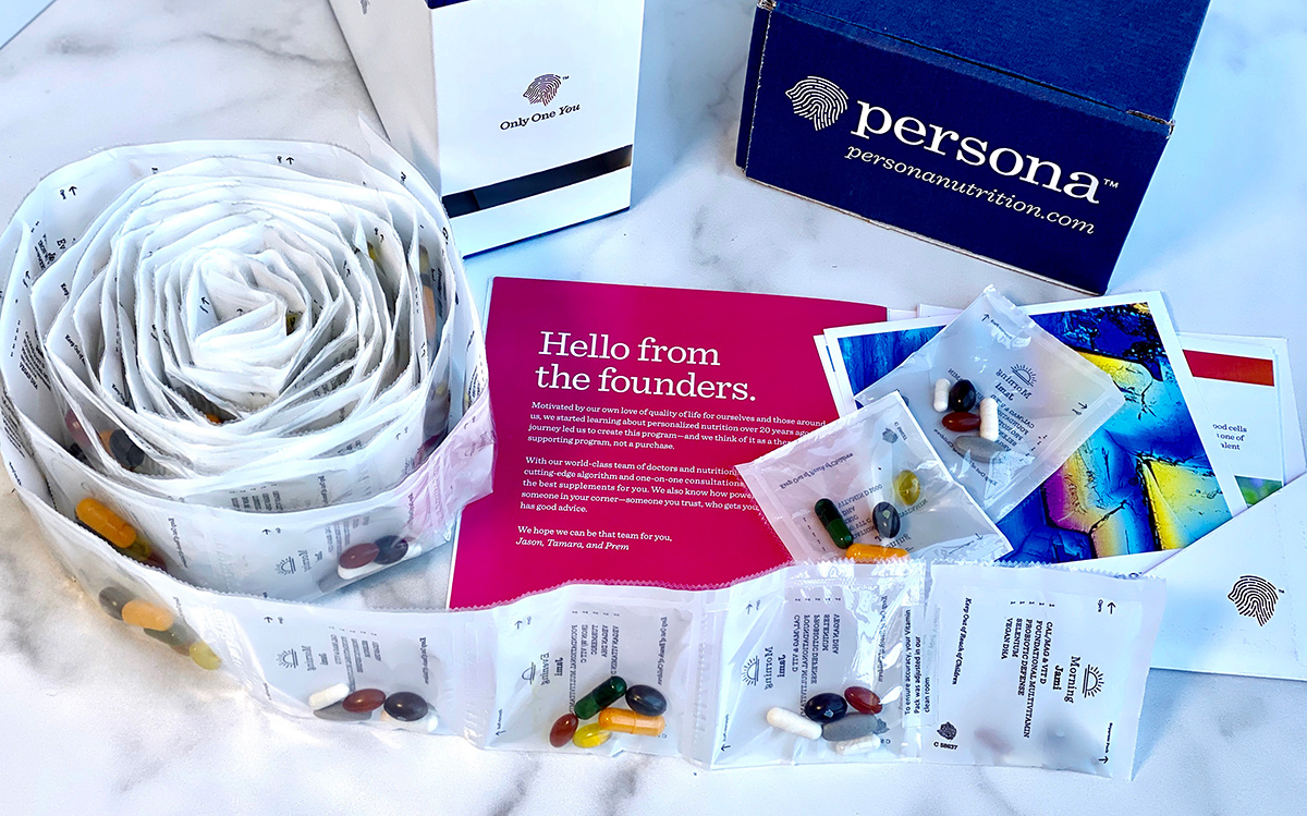 Roll of Persona Nutrition daily pill packs