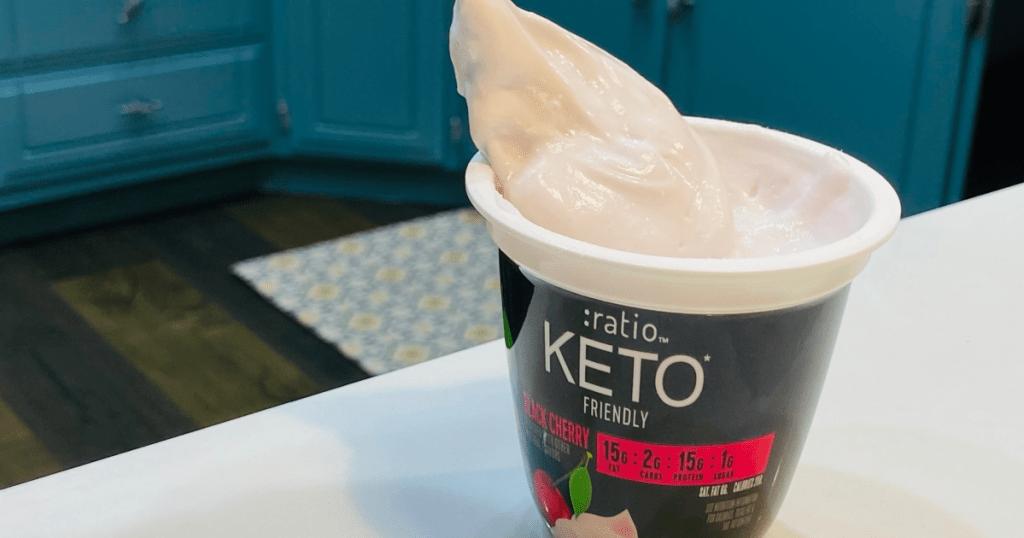 spoon in Ratio keto friendly yogurt