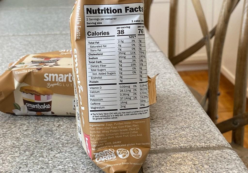 SmartCakes nutrition information for Vanilla Latte flavor