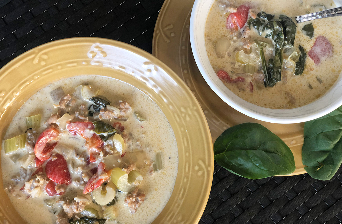 Keto creamy Tuscan soup in bowls