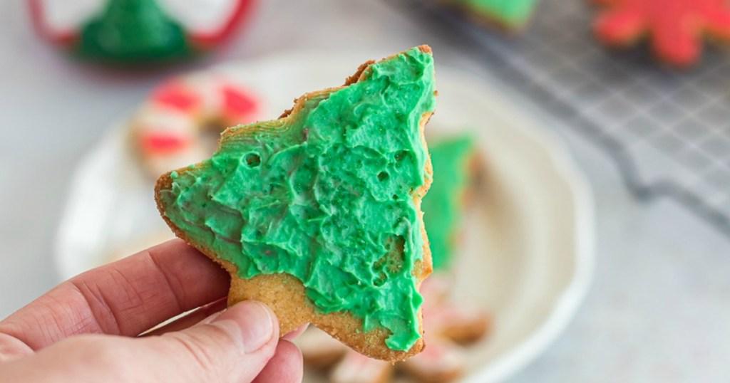 holding Christmas tree sugar cookie