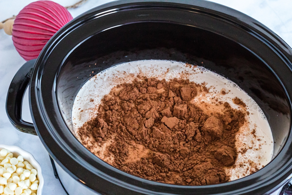 cocoa hot chocolate in crockpot