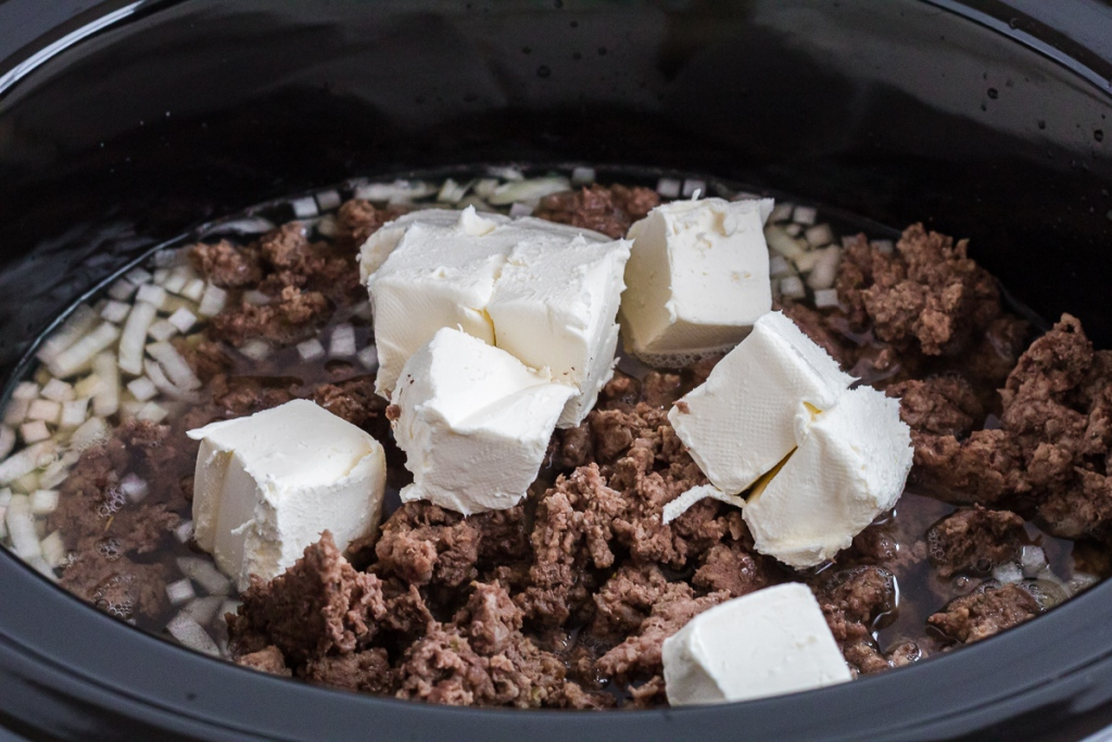 cream cheese and hamburger in a crock pot