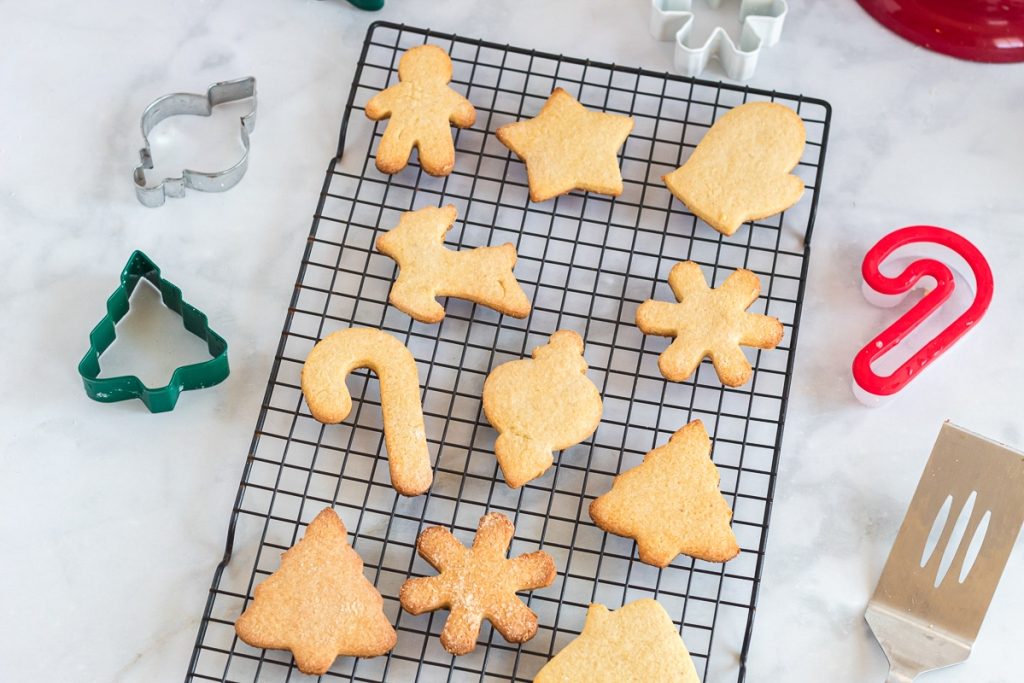 baked sugar cookies on cookie rack