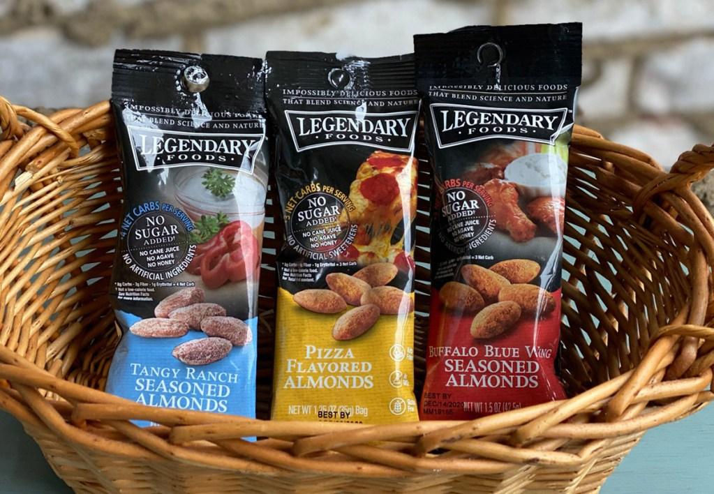 Legendary Foods Almond Packs in a basket