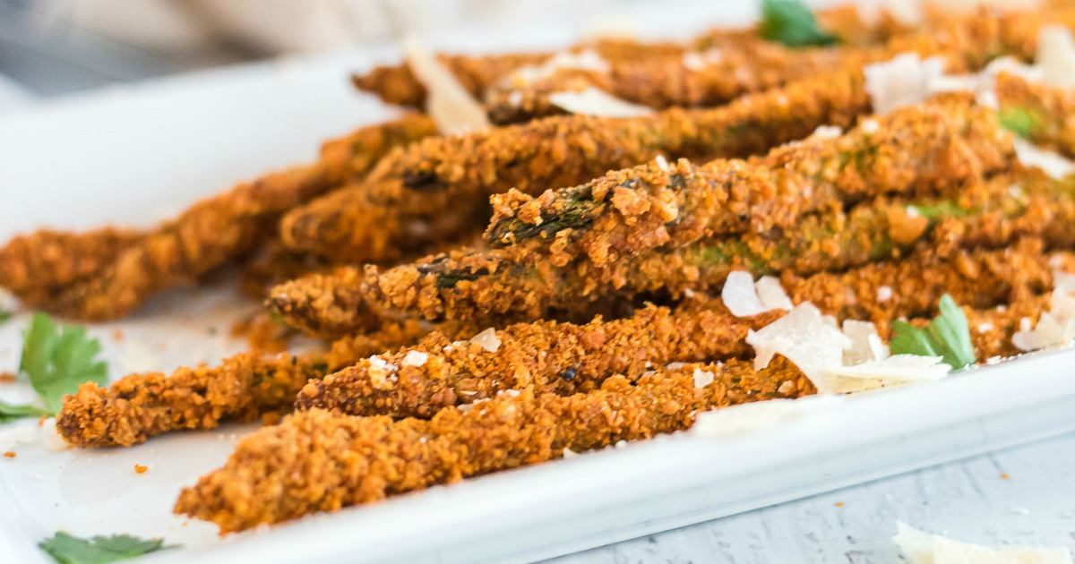 plate of asparagus fries