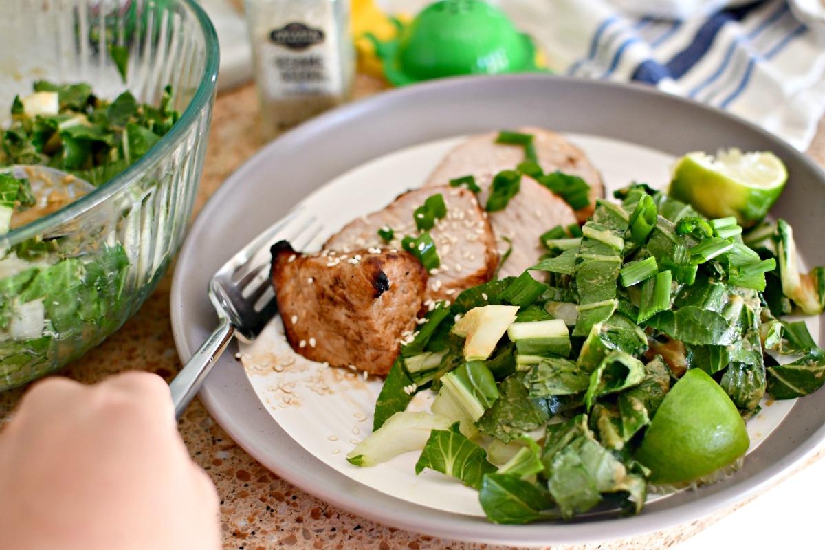 Asian pork loin with bok choy salad