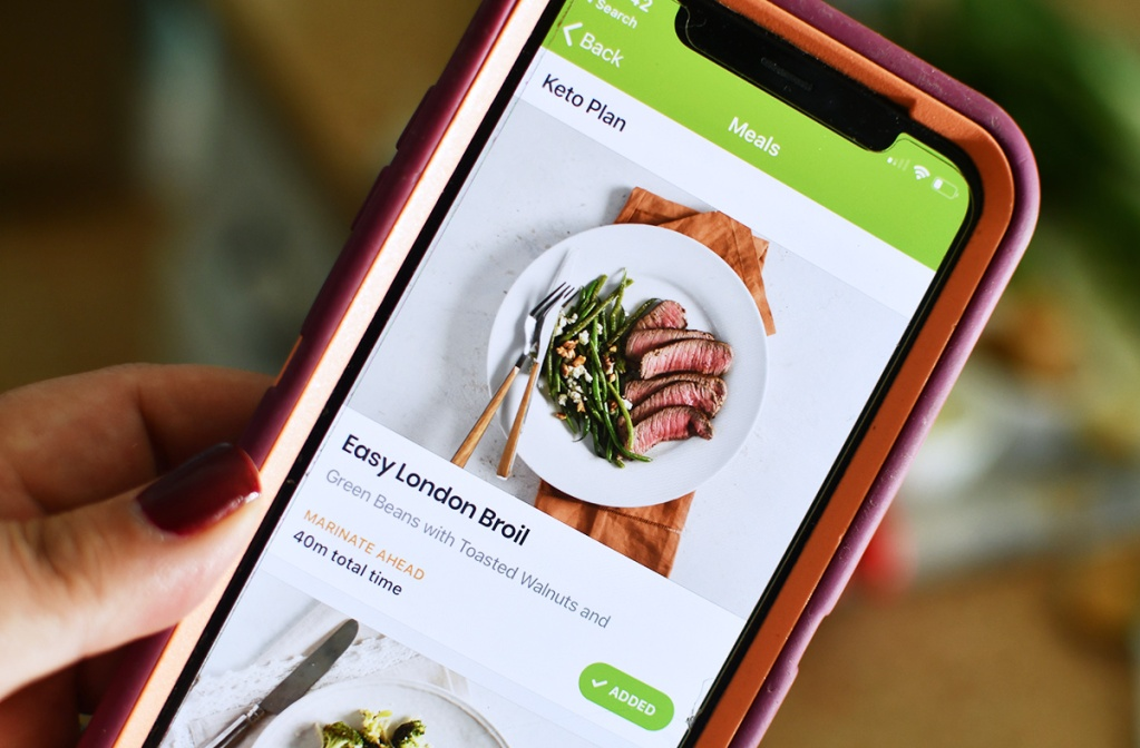 Smartphone with eMeals app and London Broil recipe