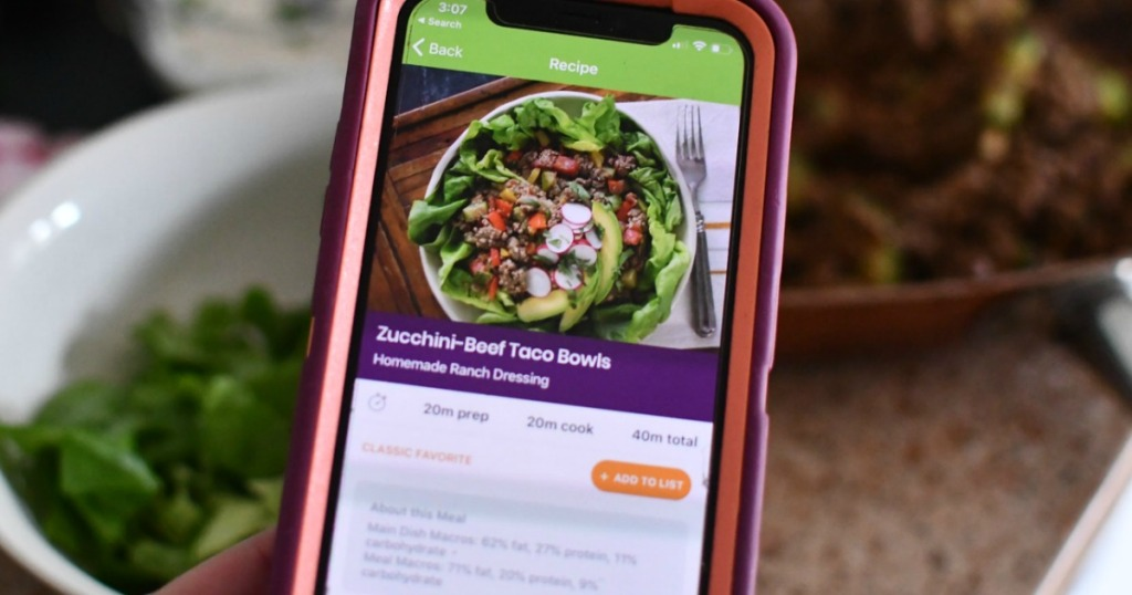 eMeals iPhone app with beef taco bowls recipe on the screen