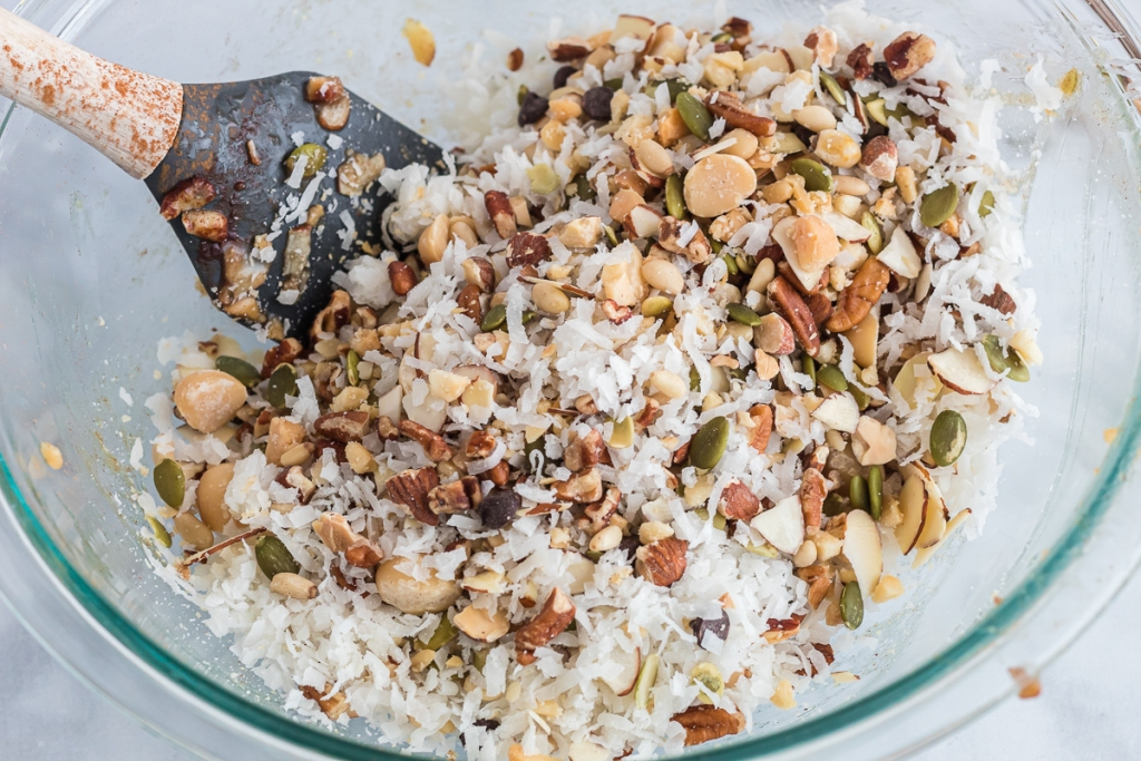 bowl of mixed nuts, coconut, and chocolate chips