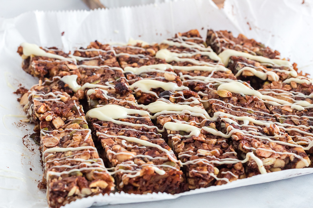 homemade keto granola bars on parchment paper