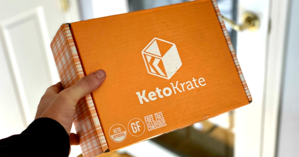 holding Keto Krate orange box