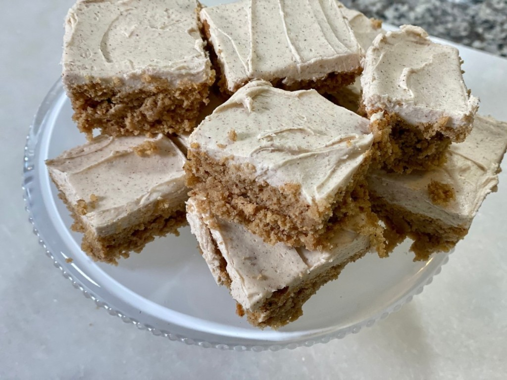 slices of keto spice cake on plate