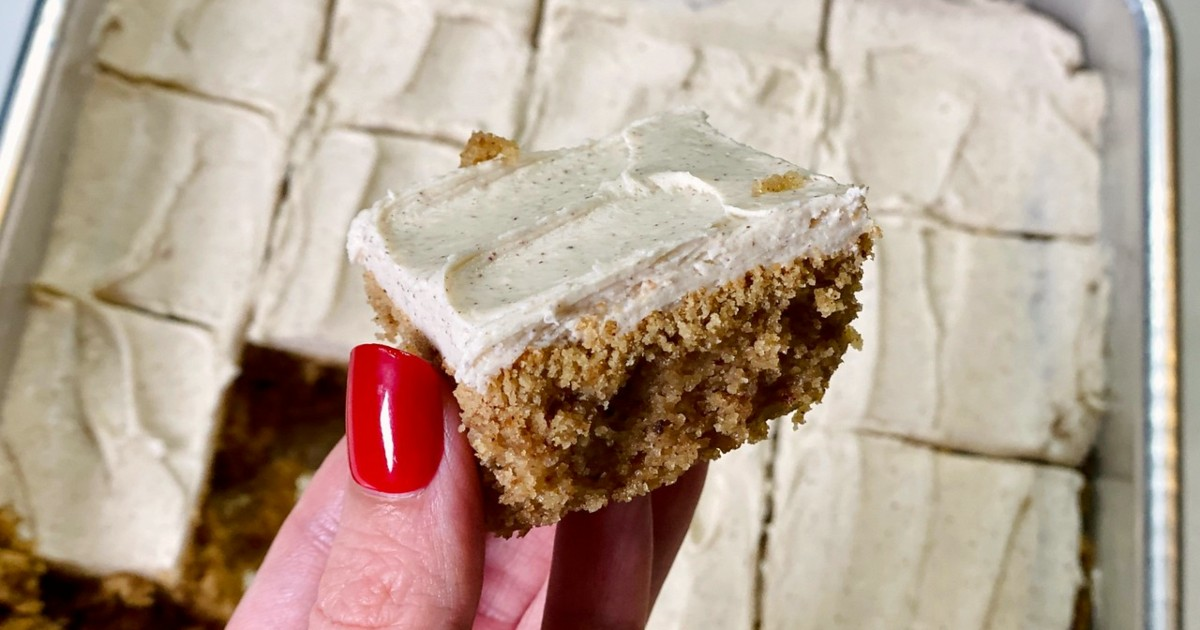 hand holding piece of Keto spice cake