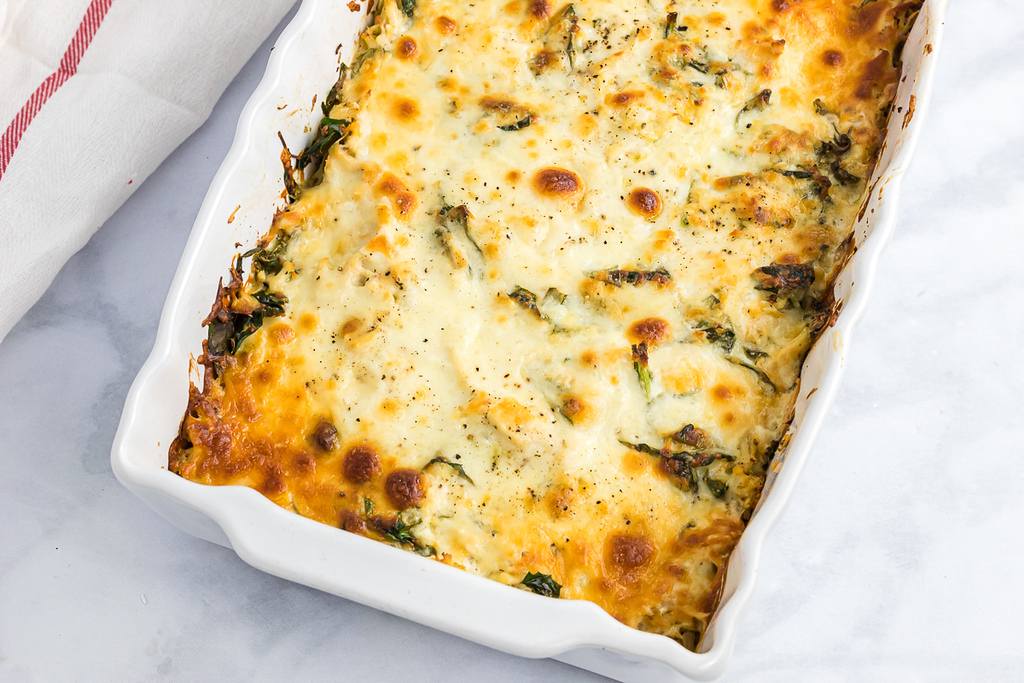 low carb casserole in white dish