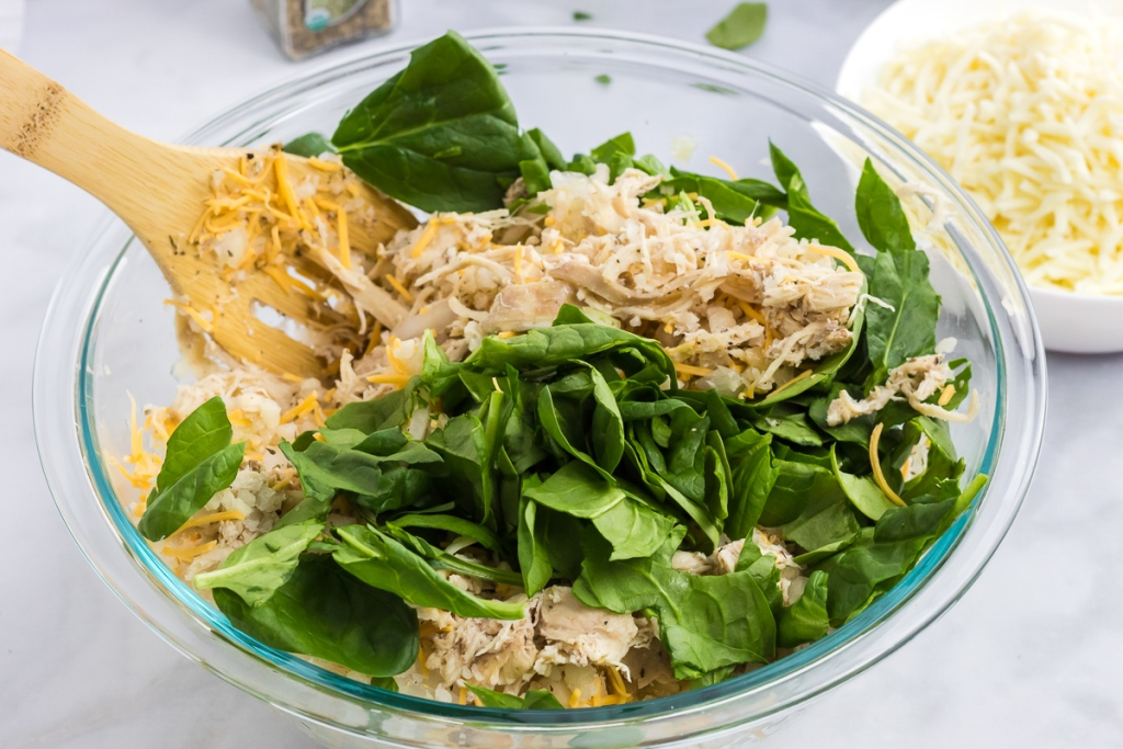 bowl of ingredients for Alfredo casserole