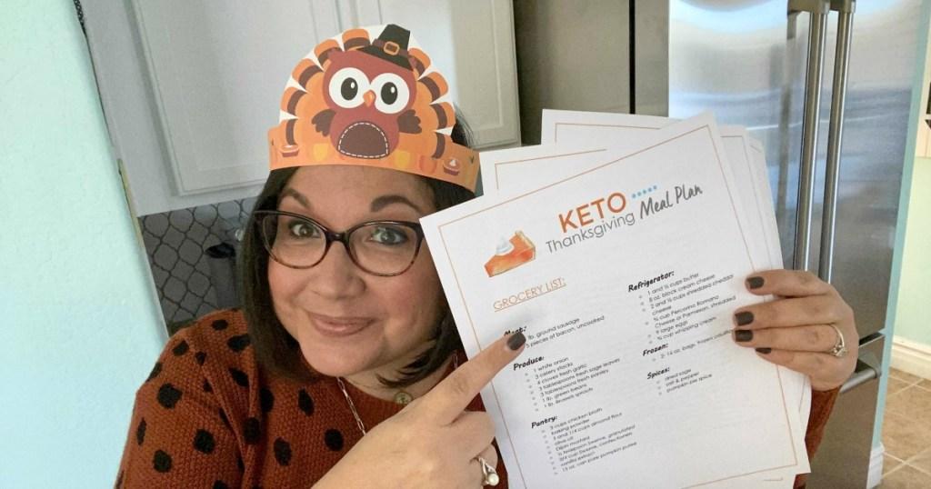 pointing to free keto thanksgiving meal plan