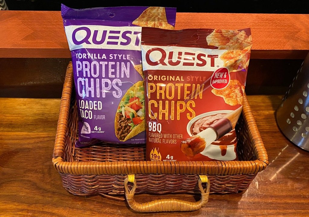 Quest protein chips in a basket