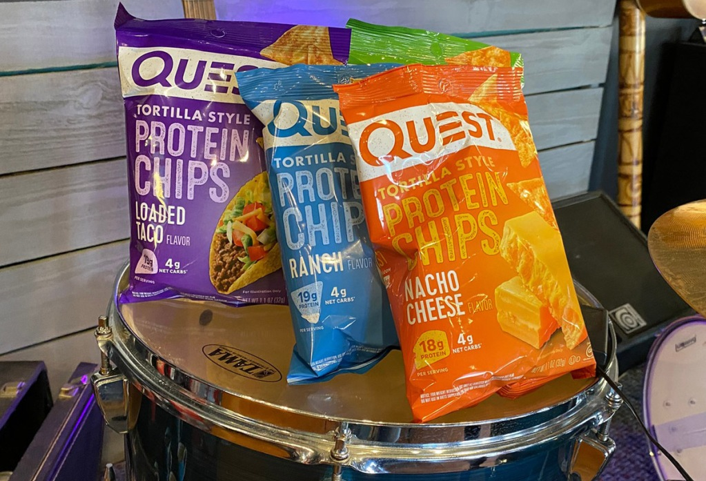 Quest Tortilla Chips sitting on a drum