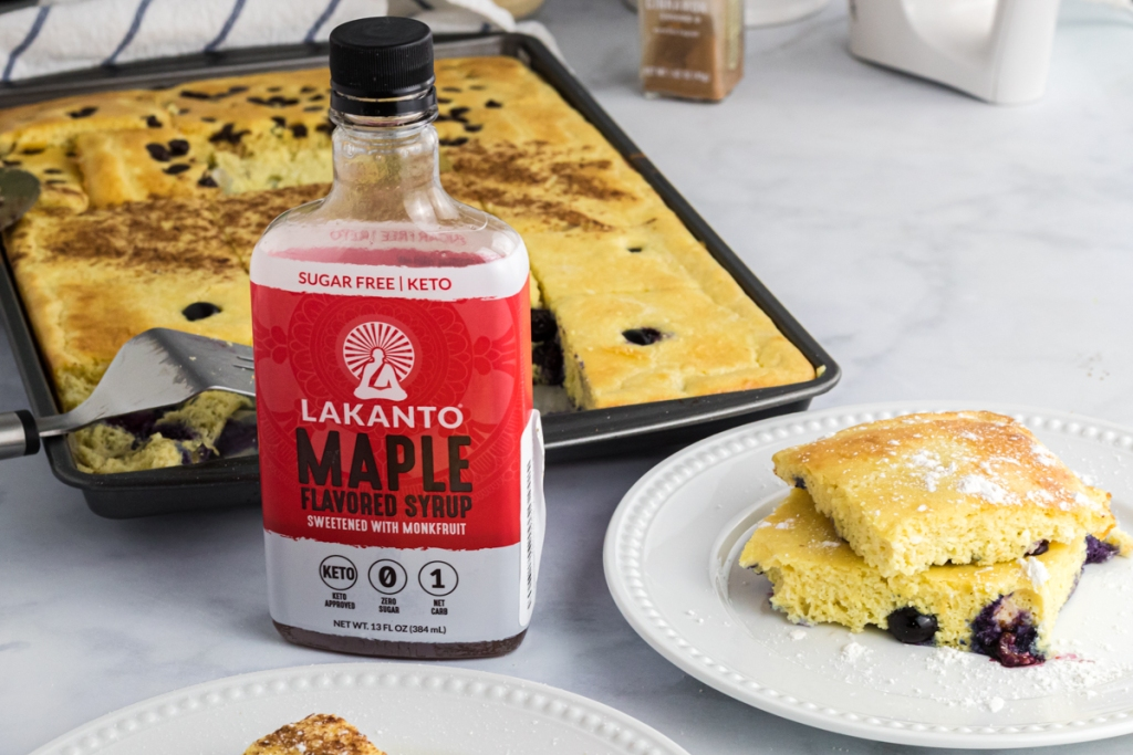sheet pan keto pancakes with keto syrup