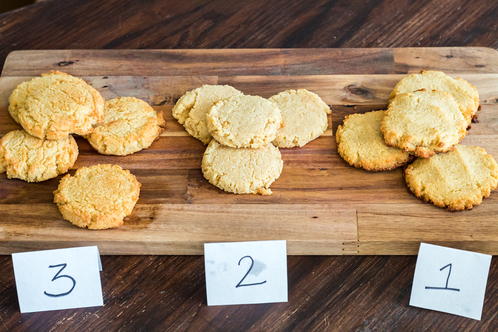 keto sugar cookies on table with numbers below each batch