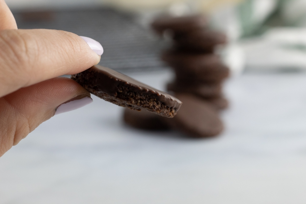 holding a thin mint cookie bite
