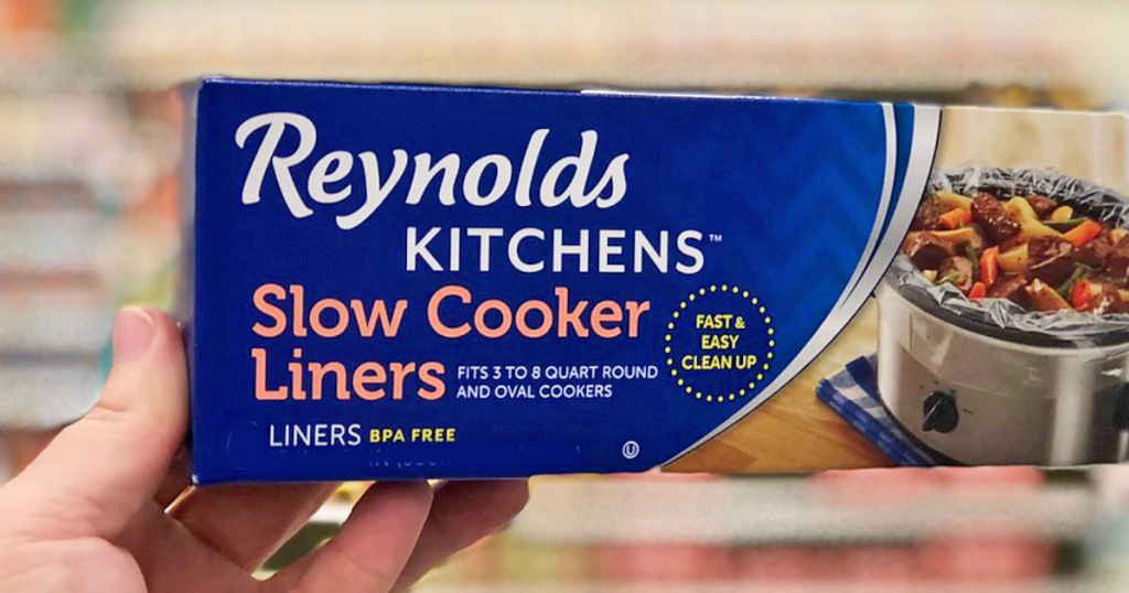 hand holding slow cooker liners