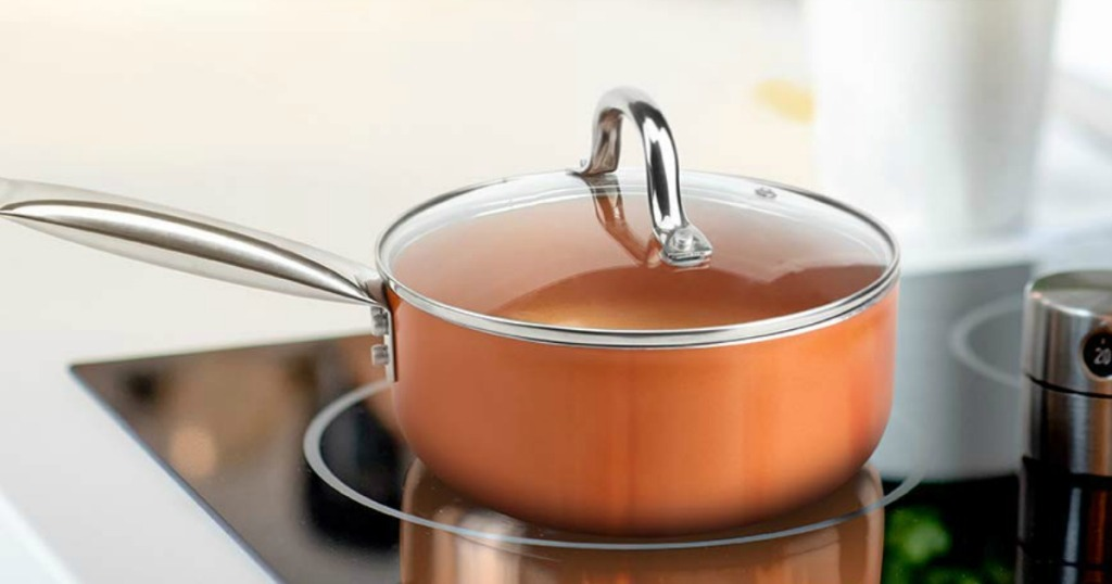 copper pan on the stove