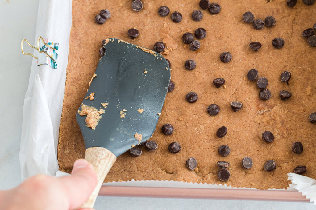 cookie dough bars in a pan