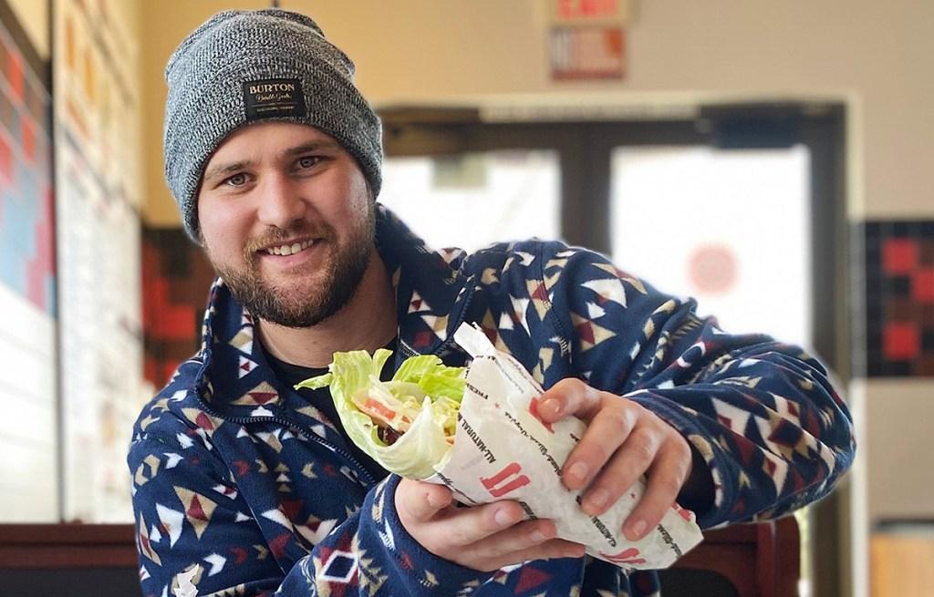 man holding unwich