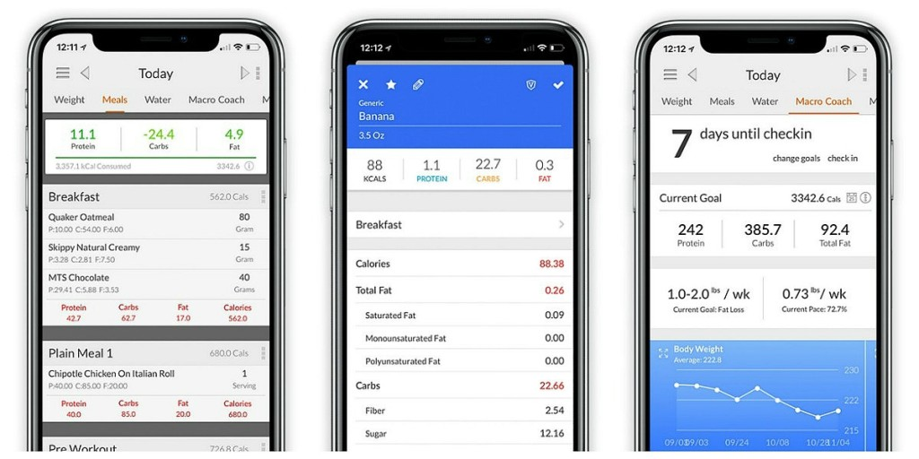 screenshots of macro tracking app